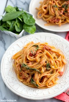 Cheesecake Factory Copycat: Sundried Tomato Fettuccine [Lightened Up] via tablefortwoblog.com