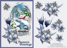 Wynter Florals with Snowy Scene on Craftsuprint designed by Jackie Edwards - A lovely Christmas card front with beautiful florals and a snowy scene. There are 3d elements. Card is approx A5. - Now available for download!