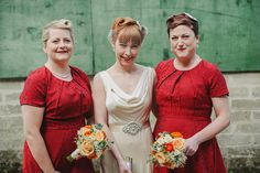 Vintage style bride and red retro bridesmaids dresses | www.onefabday.com
