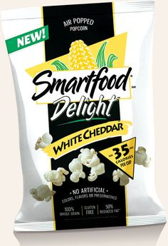 It doesn't taste as good as the original, BUT it is so low-calorie that you can have a lot more of it. Smartfood Popcorn, Cheese Popcorn, Creme Brulee, Grain Free, Sweet Recipes, Tasty, Snacks, Athletic Outfits, Packaging