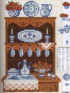 Old sideboard pattern / chart for cross stitch, crochet, knitting, knotting, beading, weaving, pixel art, and other crafting projects
