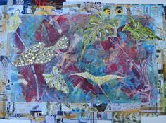 """Originally pinned by Christine Vinh.  Thx Christine, for introducing me to this artist!! """"Pool Web"""" by Stephanie Redfern.  She uses fabric, paints [several types], dyes, bronzing powders etc, plain fabrics, inks, paper and pads, coloured pencils, threads, millions, it seems of beads, useful pieces of paper, digital prints on all kinds of media, printing inks...."""