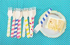 cute wooden party forks