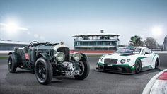 Гоночный Bentley Continental GT3 2015 года и гоночный Bentley Blower 1930 года