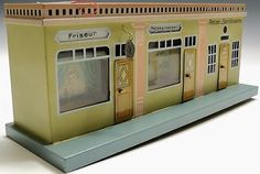 Tin Toy Bing Train Station Zeppelin Airplane lithographed Old Shop Stock Mint: