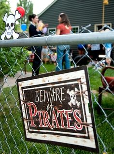 Pirate Party Sign - perfect for outdoors in your yard or near a walkway!