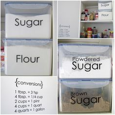 Love these large airtight containers for storing flour and sugars. Never thought of labeling them though - clear labels seems like an easy and neat way to do that.