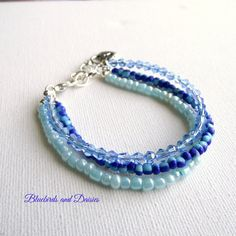 Shades of Blue Bracelet by Bluebirdsanddaisies on Etsy