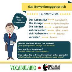 Vocabulario Entrevista de Trabajo #Bewerbug #MexicanosEnAlemania #AprenderAleman #Vocabulario
