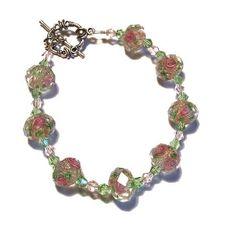 Faceted Crystal Rose Beaded Bracelet by whatsingramasdrawers, $14.95
