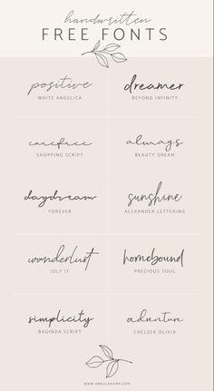 Tattoo Fonts Cursive, Hand Lettering, Free Handwriting Fonts, Lettering Tattoo, Free Tattoo Fonts, Font Free, Best Free Fonts, Calligraphy Fonts Free, Small Wrist Tattoos