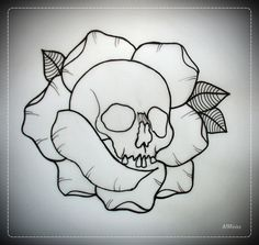SKULL IN ROSE tattoo flash OUTLINE by oldSkullLovebyMW.deviantart.com on @deviantART