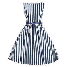 2015 Audrey Hepburn Vestidos Plus Size Women Floral Print Party Robe Rockabilly Vintage Dresses With Belt White Flare Dress, White Dress With Sleeves, White Sleeveless Dress, Fit N Flare Dress, Striped Dress, Striped Style, Belted Dress, Vintage Outfits, Vintage Party Dresses