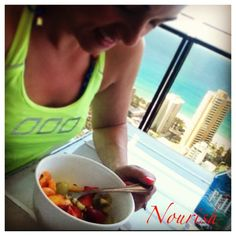Nourish Your Body with feel good foods, this mornings snack fresh fruit salad. I chose a bunch of different fruits cut them up, mixed them together and added fresh passion fruit on top. Yummo! So delicious. @Lorna Riojas Riojas Jane
