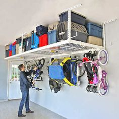 SafeRacks Overhead Garage Storage Combo Kit, Two 4 ft. x 8 ft. Racks, Deluxe Hook Accessory Pack : SafeRacks Overhead Garage Storage Combo Kit, Two 4 ft. x 8 ft. Garage Storage Shelves, Overhead Garage Storage, Hallway Storage, Closet Storage, Bedroom Storage, Storage Spaces, Bike Storage, Storage Ideas For Garage, Diy Garage Work Bench