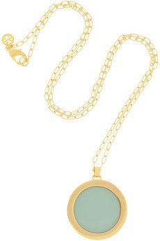 Tory Burch Deco Logo gold-plated acetate necklace | THE OUTNET #CocktailHour