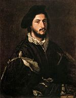 Portrait of Vincenzo Mosti. Titian. 1520. Oil on canvas. 85 × 67 cm. Galleria Palatina.  Florence.