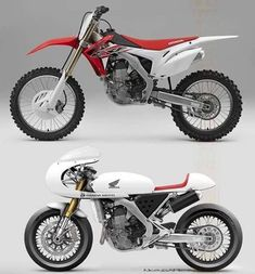 Now this is a pretty cool cafe racer from a Honda CRf450.