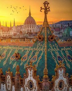 The Artistic Rooftops of Budapest . One of the most fantastic panoramas of Budapest. Poster Retro, Vintage Poster, Places To Travel, Places To See, Wachau Valley, Capital Of Hungary, Budapest Travel, Budapest City, Hungary Travel