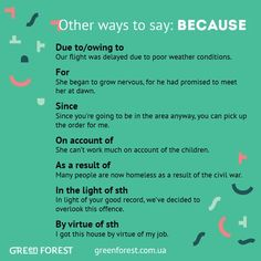 Synonyms to the word BECAUSE. Other ways to say BECAUSE. Синонимы к английскому слову BECAUSE.