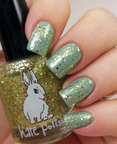 OPI Mermaids Tears + Hare Polish Dauphine of Decadence green gold nails