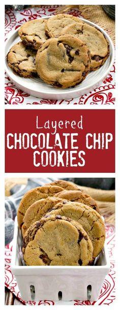 Layered Chocolate Chip Cookies | Dark Brown sugar and layers of bittersweet chocolate shards make these a one of a kind chocolate chip cookie! /lizzydo/
