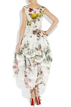 Vivienne Westwood Gold Label Fiona Tiered Organza Rose-Print Dress |Pinned from PinTo for iPad|
