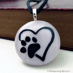 Dog Paw Print on Heart, Pink Necklace, Dog Jewelry, Fused Glass Pendant, Stained Glass Pendant