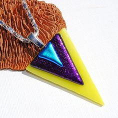 Triangle Geometric Fused Glass Jewelry Modern by IntoTheLight