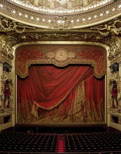 love this lush...rich stage curtain from an old theater.....pulled back to reveal the beautiful layers underneath.... by photographer David Leventi  Curtain, Palais Garnier, Paris, France