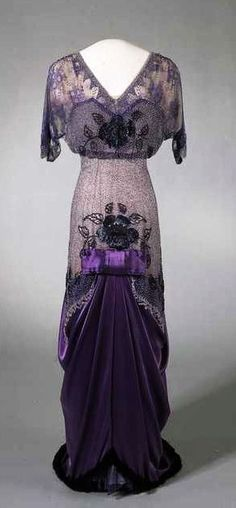Purple silk velvet and satin evening dress with lace and tulle overlay and beaded embroidery, ca. 1910-13