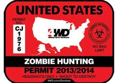 In all likelihood Zombies are going to show up any day now. Be sure you are prepared with your FREE zombie hunting permit. We all know the harsh penalties for hunting zombies without the proper documentation. Make sure you are prepared with your permit! Totally Free Stuff, Hunting Decal, Zombie Hunter, Corny Jokes, Zombie Apocalypse, Sunny Days, Just In Case, Free Samples, Zombies