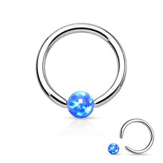 Fire Opal Blue Captive Hoop 16ga Surgical Stainless Steel Ear Jewelry Tragus Cartilage Helix Body Jewelry
