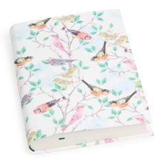 A5 delicate birds flexi linen ruled notebook