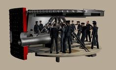 USS Monitor turret with sailors for scale Uss Monitor, Civil War Art, Exploded View, War Photography, United States Navy, Submarines, American Revolution, American Civil War, Sailors