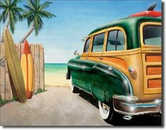 Retro Surfing Beach Woody Boards Tin Sign Poster picclick.com