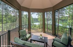 This screened porch overlooks a beautiful view! The Butler Ridge #1320-D. http://www.dongardner.com/house-plan/1320-D/the-butler-ridge. #ScreenedPorch #LakeHouse #HomePlan