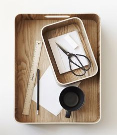 Versatile organisational trays from Country Road-Crest scissors, Dante deep tray, Tucky mug, and Tiva large tray.