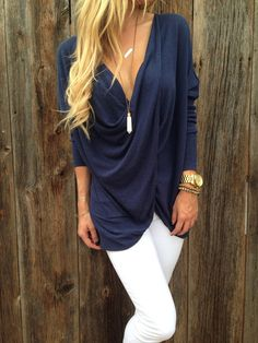 Blue Plain Ruffle Twisted V-neck Long Sleeve Slim Fashion Casual Pullover - Fashion Show - Trends Mode Outfits, Casual Outfits, Fashion Outfits, Womens Fashion, Fashion Trends, Fashion Weeks, Classy Outfits, Fashion Styles, Mode Style