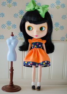 Vintage inspired dress with yoke for Blythe doll by PlasticFashion, $30.00