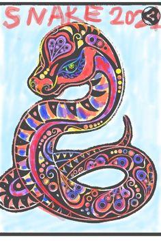 SNAKE MONTH 2021 | olgagrigiene | Digital Drawing | PENUP Chinese Calendar, Chinese Astrology, Chinese Art, Snake, Digital, Create, Drawings, Artist, Artwork