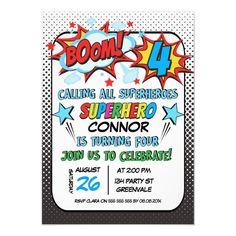 Boys Superhero 4th Birthday Invitation 1st Birthday Invitations Boy, Superhero Invitations, Invites, Invitation Cards, 6th Birthday Parties, 1st Boy Birthday, Birthday Ideas, Diy Superhero Birthday Party, Birthday Gifts