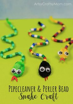 Forget about creepy snakes, and make this DIY Pipe Cleaner and Bead Snake Craft instead! Use them as bookmarks, bag charms, key chains and much more! kids crafts DIY Pipe Cleaner and Bead Snake Craft for Kids Craft Activities, Preschool Crafts, Fun Crafts, Arts And Crafts, Kindergarten Crafts Summer, Decor Crafts, Straw Crafts, Simple Crafts, Camping Activities
