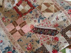 """Detail - Antique Chintz Quilt Top C 1830 Very Pretty Fabrics 