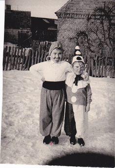 Old Vintage photo Kid in halloween costumes genie and clown....lol