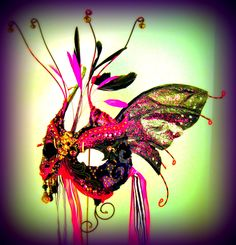 Hot Pink Fire Monkey Masquerade Mask by Judith Rauchfuss