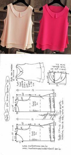 Blusa regata com gola boneca | DIY - molde, corte e costura - Marlene Mukai