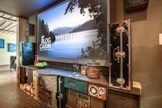 This super cool entertainment center is made from old suitcases and speakers! Learn how to make your own + 4 more clever upcycling projects from DIY's Blog Cabin 2015 >> http://blog.diynetwork.com/maderemade/how-to/5-clever-upcycling-projects-from-diys-blog-cabin-2015/?soc=pinterest
