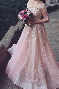 Elegant pink tulle + lace appliques long prom dress with sleeves, ball gowns wedding dress