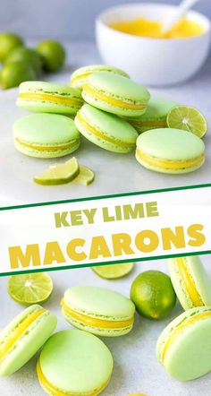 Key Lime Macarons Recipe – tangy and sweet French macarons, that melt in your mouth, filled with lime curd and loaded with fresh flavor. Key Lime Macarons, Macaroons Flavors, French Macarons Recipe Flavors, Key Lime Macaron Recipe, Macarons Filling Recipe, Macaroon Filling, Macaroon Cookies, French Macaron Filling, Key Lime Cookies